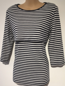 BLOOMING MARVELLOUS WHITE STRIPED 3/4 SLEEVE NURSING TOP SIZE L 14